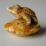 Netsuke mythical Creature on a Clam