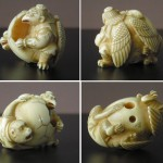 "Netsuke ""Kappa and Monkey on an Egg"""
