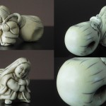 "Netsuke ""Woman drags a sack"""