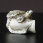 "Netsuke ""Turtle on a lotus bloom"""