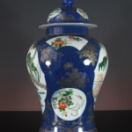 19th C. Powder-Blue Vase+Cover - Gilt
