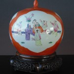 19th C. Powder-Orange Vase+Cover – People