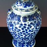 Large 19th C. Vase & Cover- Lionheads
