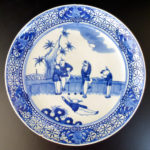 19th C. blue & white Plate – 5 Boys