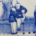 19th C. blue & white Plate – 5 Boys