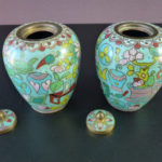 Pair 19th C. Cloisonne Vases – 100 Treasures