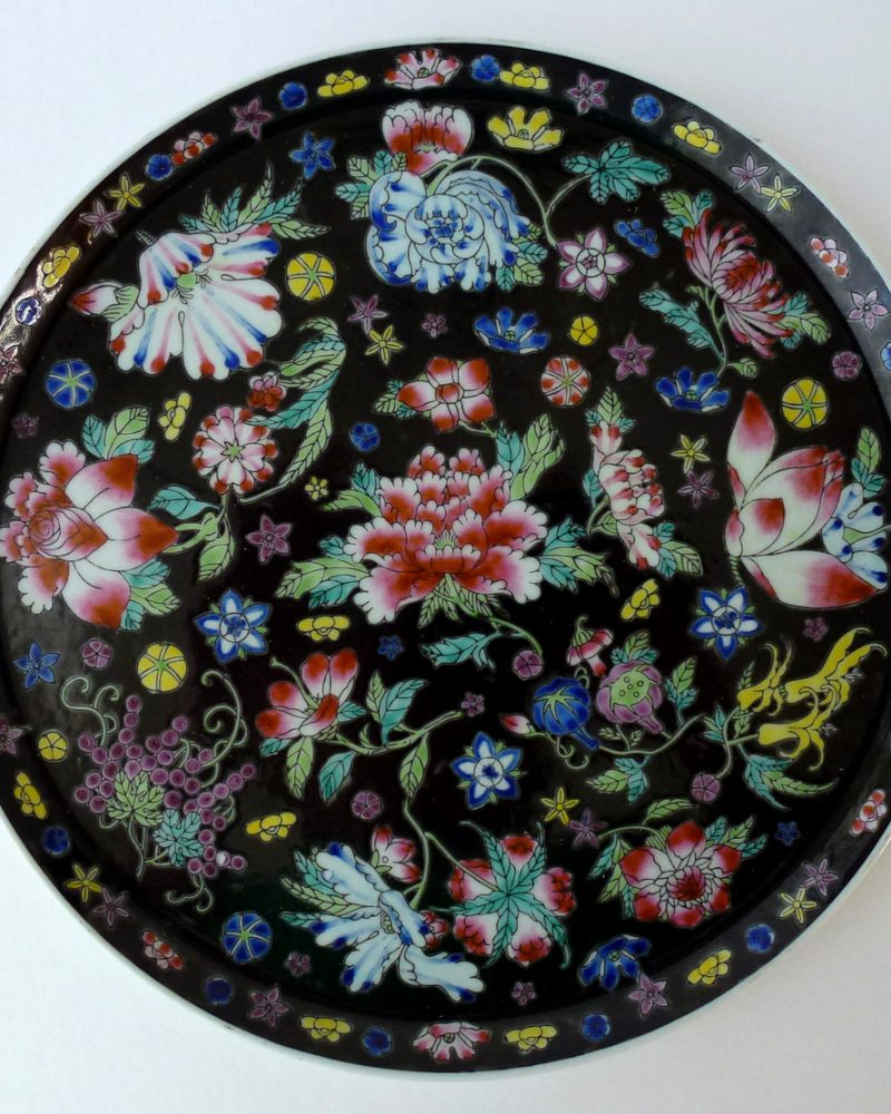 20th C. Chinese Famille Noire Tray: 70.- Euro