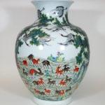 Famille Rose Vase – One Hundred Deers