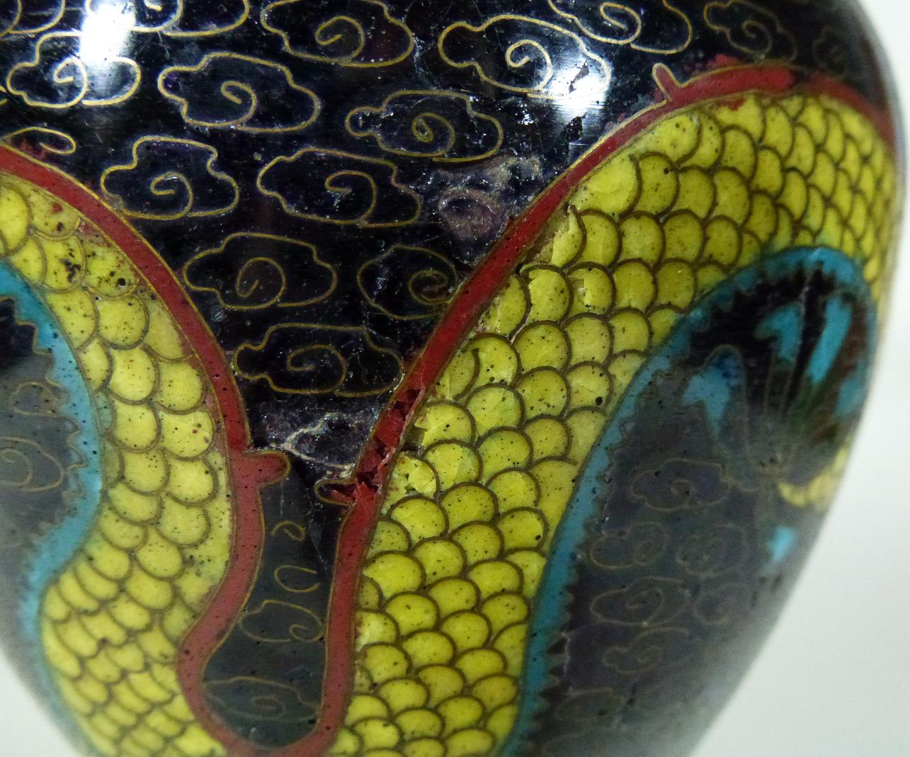 Guangxu Cloisonne Vase – Dragons