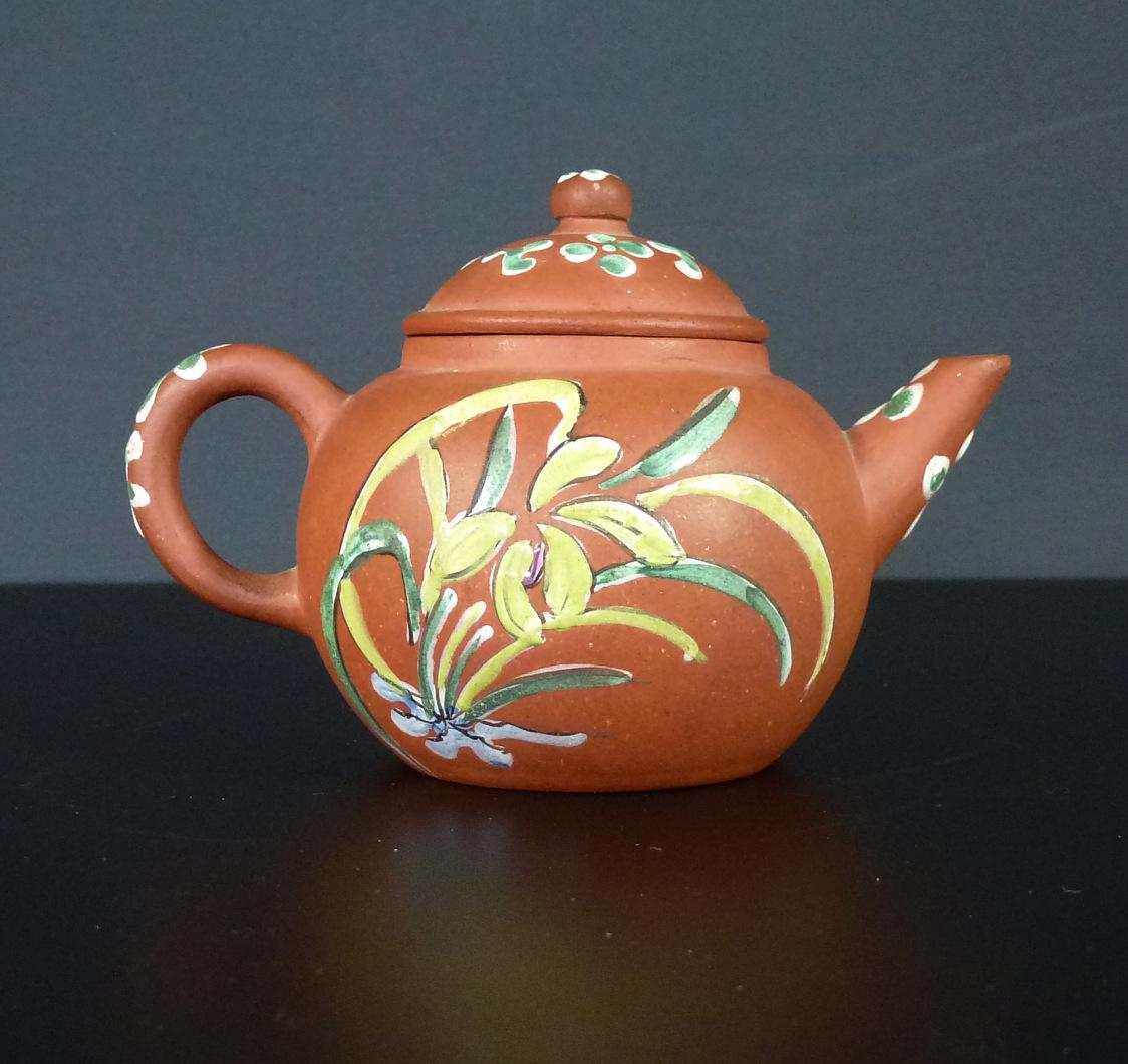Late 19th C. Yixing Enameled Teapot – Bird