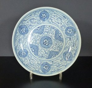 Chinese 18th C. Arabic Script Charger – Chrysanthemum