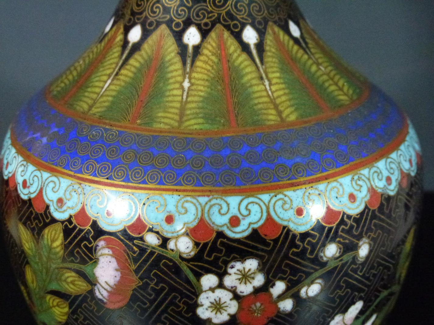 19th C. Cloisonne Vase – Floral