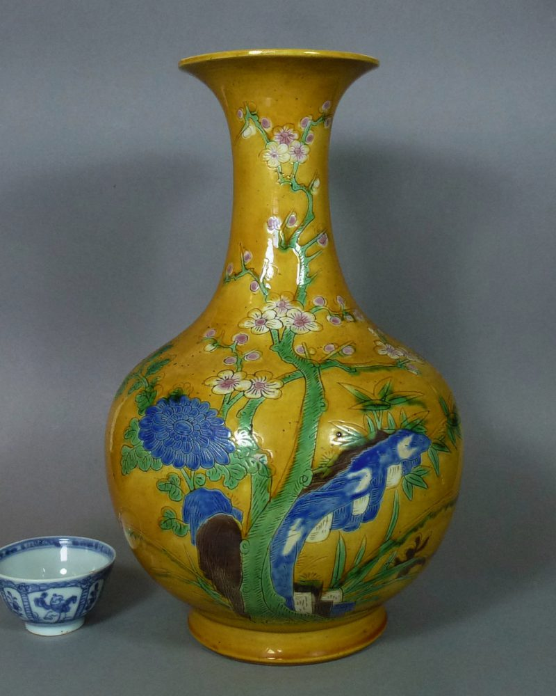 "19th C. Chinese Sancai Vase – ""Four Gentlemen"""