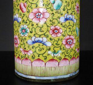 19th C. Chinese Yellow Enamel Cylinder Vase