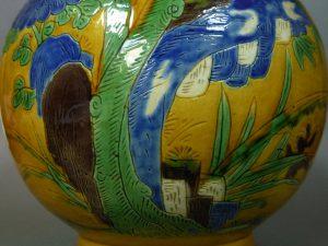 "19th C. Chinese Sancai Vase - ""Four Gentlemen"""