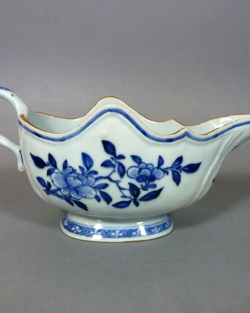 Chinese Qianlong Porcelain Sauce Boat – Wave Shape