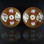 Two Chinese 18th C. Saucers – Café-au-lait & Peaches