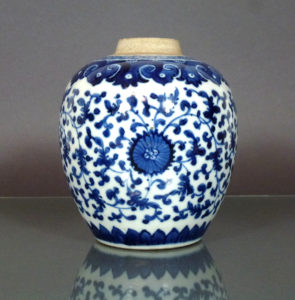 Chinese Kangxi Porcelain Jar – Lotus Scroll