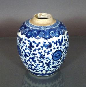 Chinese Kangxi Porcelain Jar – Lotus Scroll