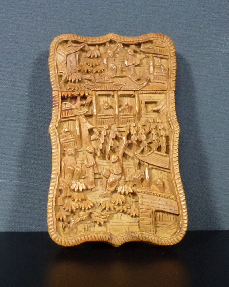 Chinese 19th C. Card Case – Village Scenery