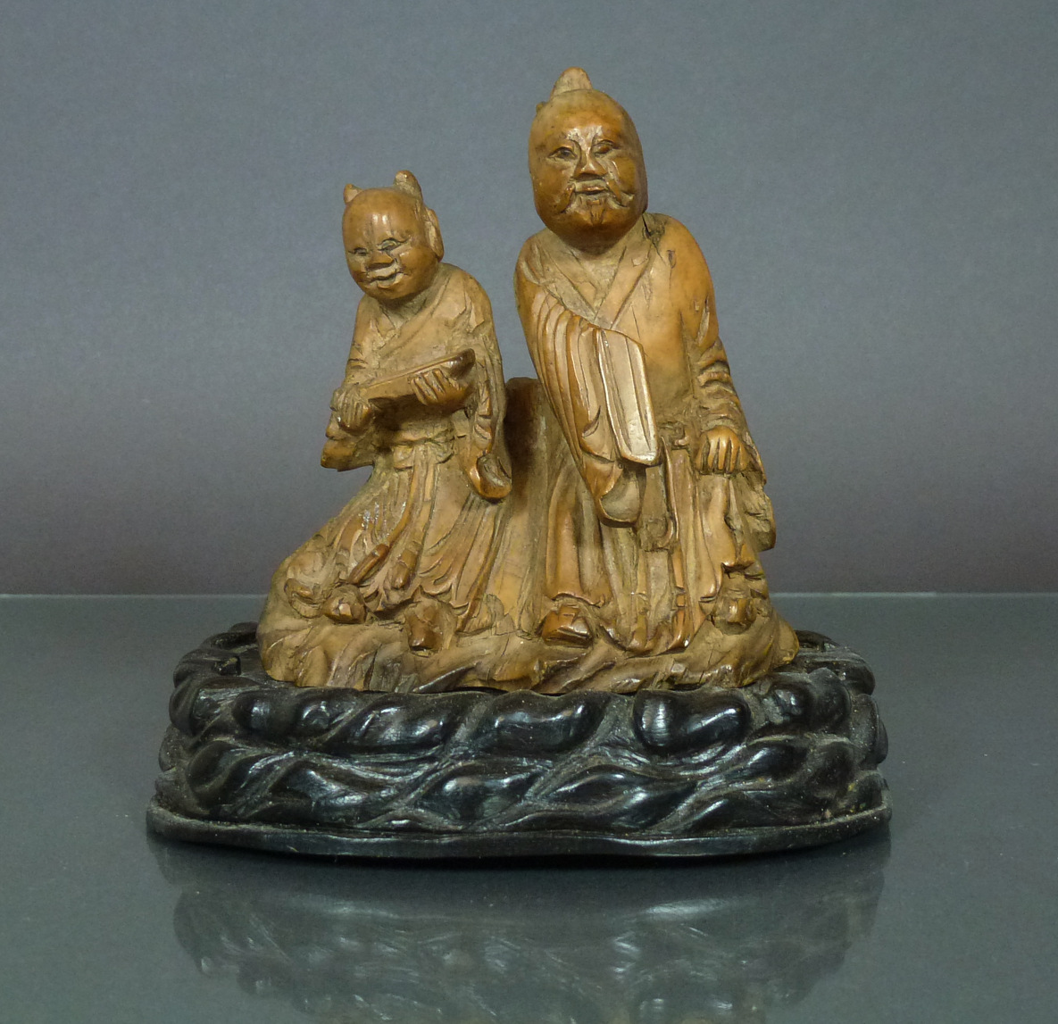 Chinese 18th C. Boxwood Figure Group - Scholar & Student