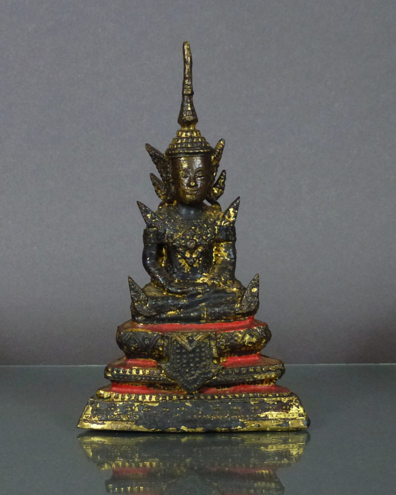 19th C. Thai Rattanakosin Bronze Buddha – Gilded