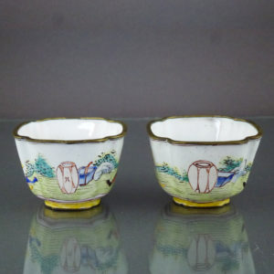 Pair Chinese Qianlong Enamel Cups – Lady & Gentleman
