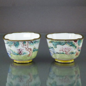 Pair Chinese Qianlong Enamel Cups – Lady & Gentleman