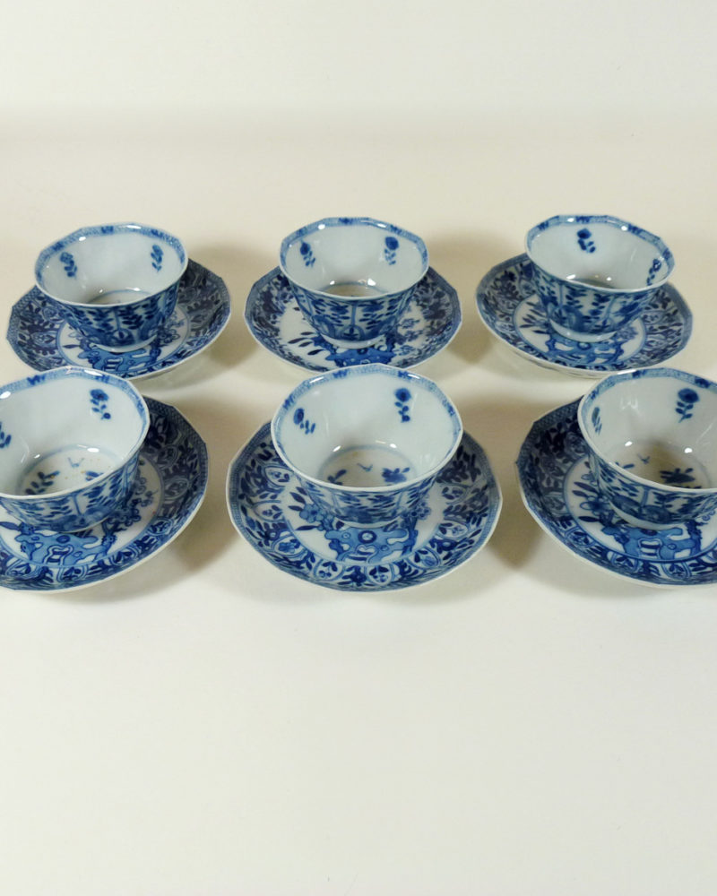 6 x chinese 19th C. Cup & Saucer – Kangxi revival