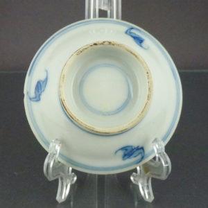 Chinese Pair High Feeted 19th C. Miniature Dishes - Fu, Lu, Shou