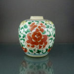 Chinese 17th C. Kangxi Transitional Wucai Jar – Peony