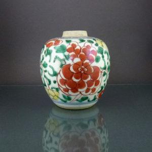 Chinese 17th C. Kangxi Transitional Wucai Jar – Peony