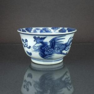 Chinese Kangxi Cup & Saucer - Qilin & Phoenix