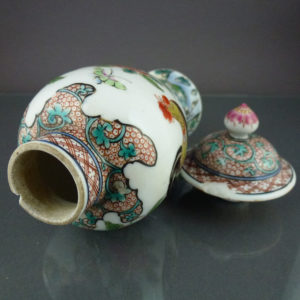 Chinese 18th C. Fencai Vase & Cover - Rooster