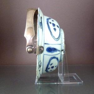 Chinese Wanli Klapmuts Bowl & Silver Handle - Bird